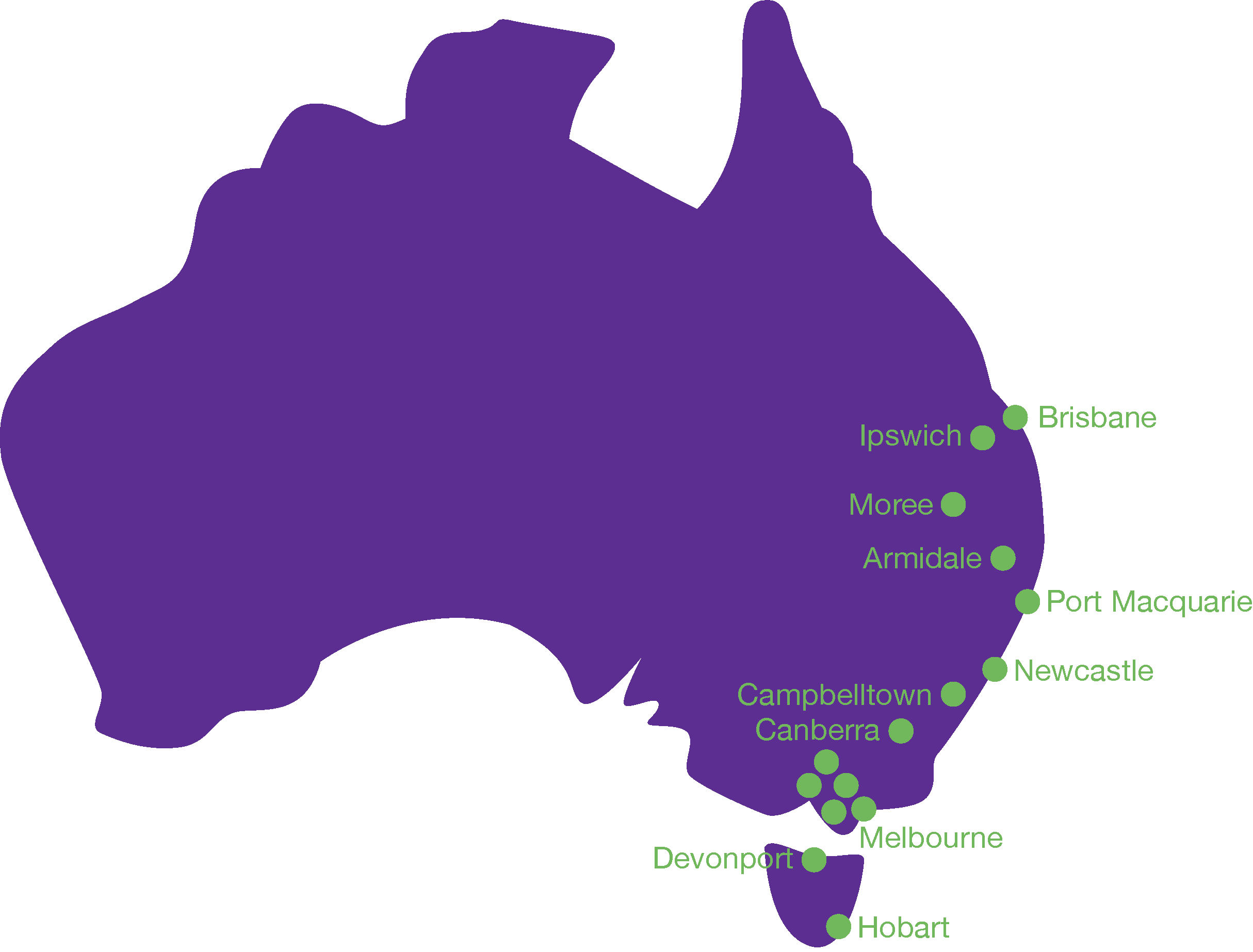 EACH locations Australian mapPNG